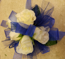 White Rose & Royal Blue Corsage