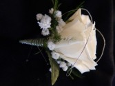 White Rose Silver Accent Boutonniere