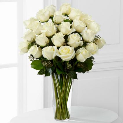 White Rose Splendor Roses Arranged