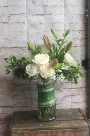 White rose sympathy  Vase  in Wilkes Barre, PA | Kelly Ann's Floral