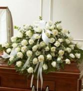 WHITE ROSE TRIBUTE Casket Arrangement