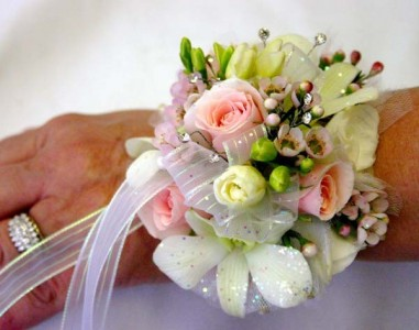 WHITE ROSE WHITE ORCHID CORSAGE ALL BOW COLORS AVAILABLE