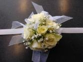 White Rose White Ribbon Corsage