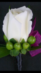 White rose with a twist Boutonnière