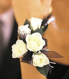 White rose with Accent ribbon Wristlet Corsage (other colors available)