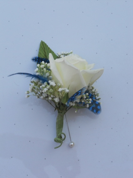 White Rose with Blue Feathers