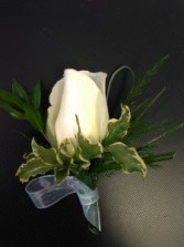 White Rose with Grass Boutonniere