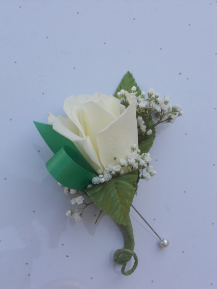 White Rose with Green Ribbon