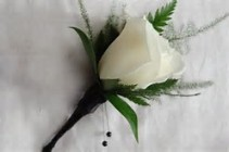 White rose with Greenery Boutonniere