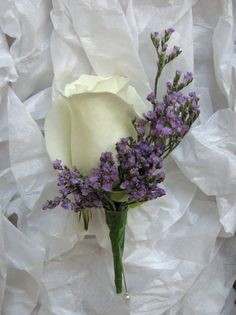 White Rose with Lavender Boutonniere Boutonniere