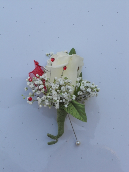 White Rose with Red Rhinestones and Red Feathers