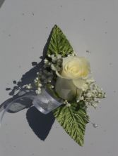 White Rose with Silver Ribbon