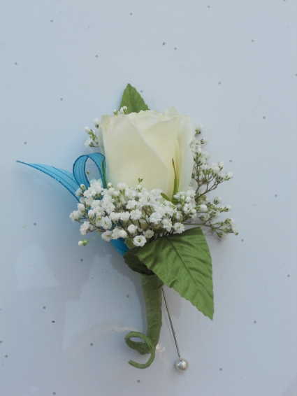 White Rose with Turquoise Ribbon