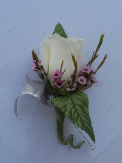 White Rose with Wax Flower