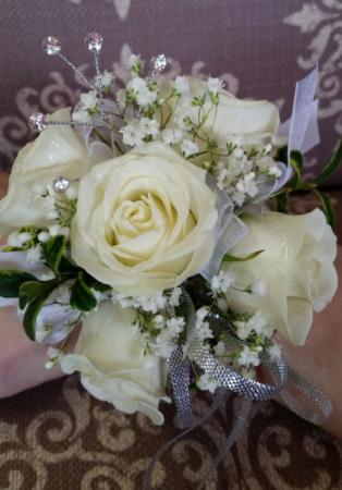 White rose wristlet Corsage