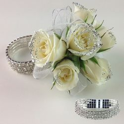 White Rose Wristlet with Glitter corsage