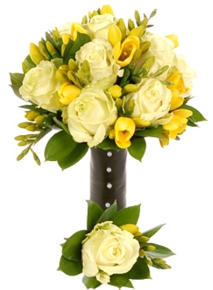 WHITE ROSE YELLOW FREESIA