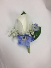 White Roses and Blue Delphinium Boutonniere Abloom Original