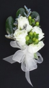 White roses and hypericum berries Corsage