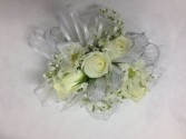 White Roses and Larkspur Wrist Corsage Abloom Original