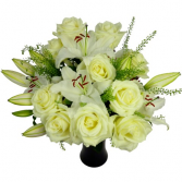 white roses and lilies Hand tied bouquet