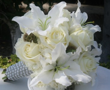 White roses and lilies wedding bridal bouquet in riverside ca white roses and lilies wedding bridal bouquet mightylinksfo