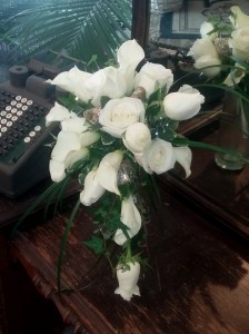 White Roses and White Calla Lilies  Cascade