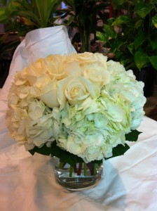 White Roses and White Hydrangea Vase