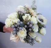 WHITE ROSES, ANEMONES, SILVER BRUNI WEDDING BOUQUET