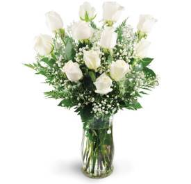 White Roses Arranged in a Clear Vase
