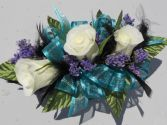 White Roses, Black Feathers & Teal Ribbon