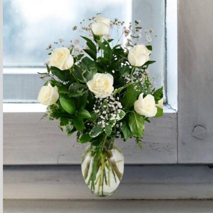 White Roses- Bud Vase or 1/2 Dozen