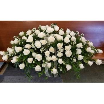 White Roses Casket Spray