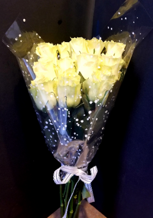 White Roses Dozen Wrapped