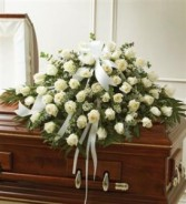White Roses Half Casket Cover Funeral