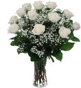 white roses in vase dozen roses