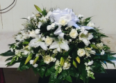 White Roses & Lillies  Casket Spray