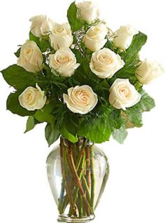WHITE ROSES LONG STEM ARRANGEMENT