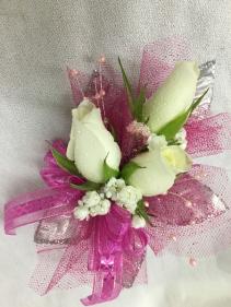 White Roses Pink Trim Wrist Corsage