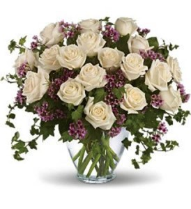 18 White Roses Vase Arrangement in Chatham, NJ | SUNNYWOODS FLORIST