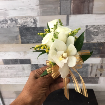 White roses & White orchid Corsage Corsage