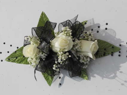 White Roses with Black Ribbon and Black Pearls