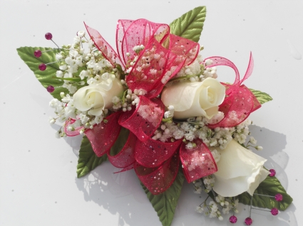 White Roses with Hot Pink Ribbon and Rhinestones