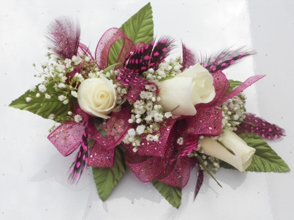 White Roses with Hot Pink Ribbon & Feathers