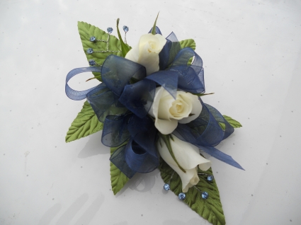 White Roses with Navy Ribbon and Light Blue