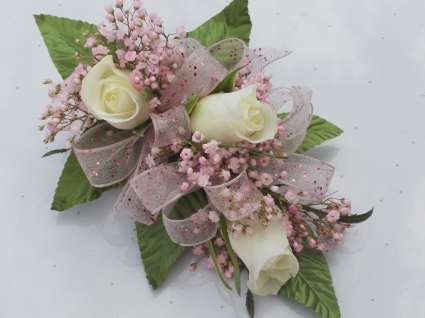 White Roses with Pink