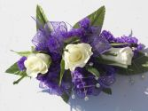 White Roses With Purple Ribbon & Rhinestones