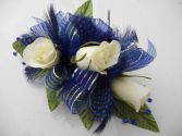 White Roses with Royal Blue