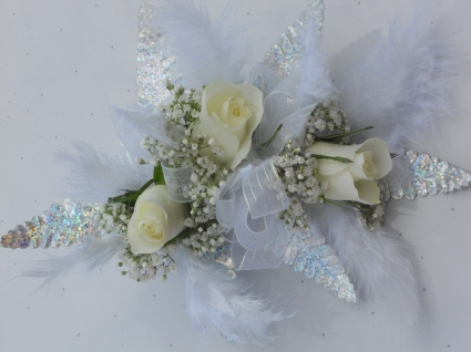 White Roses With Sheer Ribbon & Disco Leaves