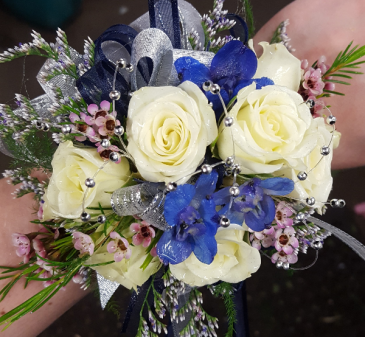 White roses with touch of blue wrist corsage in plum pa forever white roses with touch of blue wrist corsage mightylinksfo